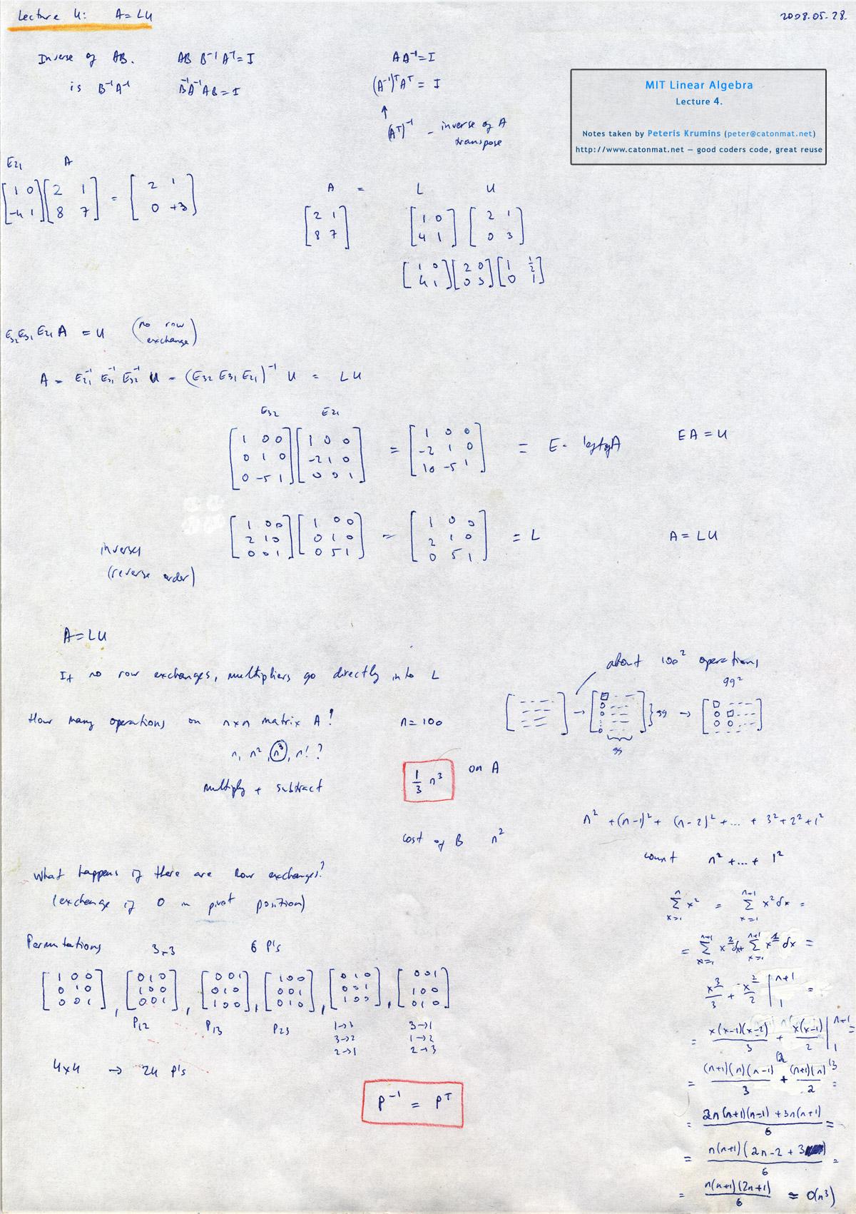 Mit Linear Algebra Lecture 4 A Lu Factorization