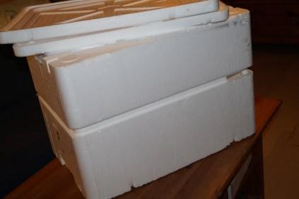 2 caisses de polystyrène à défaut d'en avoir une grande