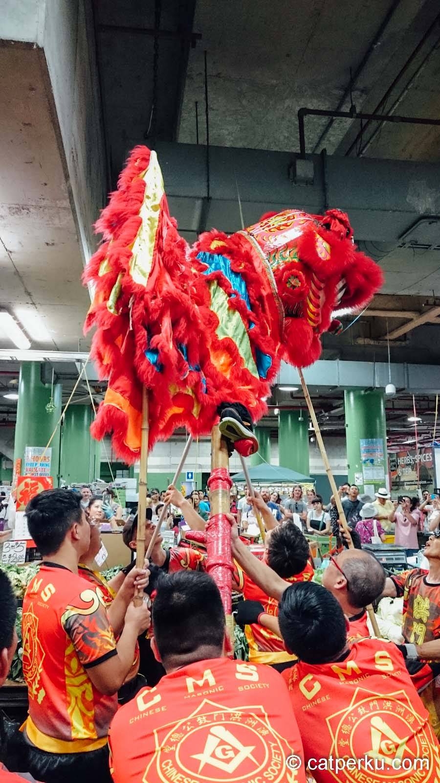 Atraksi Barongsai di Paddy's Market, China Town, Sydney