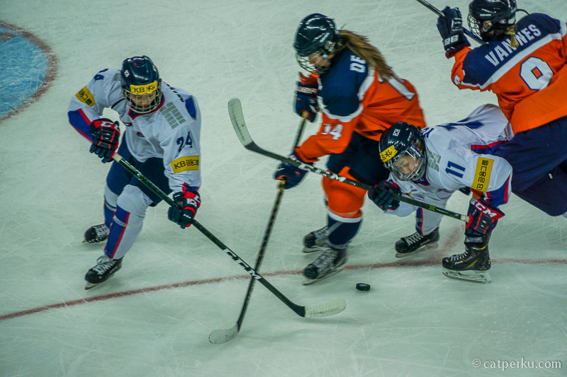 Benturan secara fisik sering terjadi di permainan Ice Hockey ini