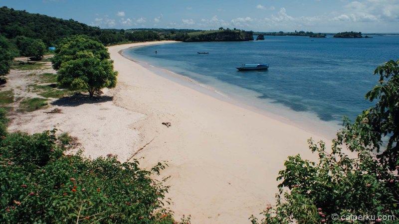 Bibir pantai pink Lombok cukup panjang, dan bisa diakses lewat jalur darat