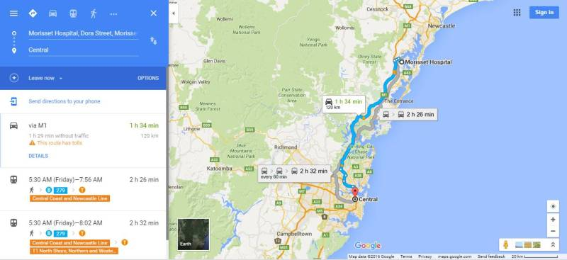 Dari Sydney Central ke Morisset Park nggak terlalu jauh kok! Cek aja di google maps ini.