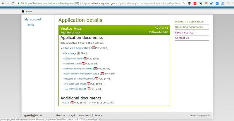 Dokumen-dokumen yang saya lampirkan untuk appy visa New Zealand secara online. Paling bawah adalah granted letter atau invormasi kalau visa New Zealand saya sudah disetujui.