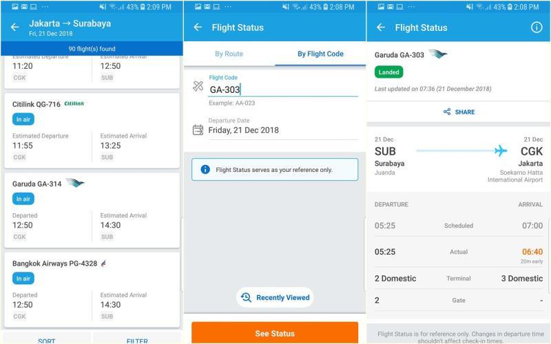 Fitur Flight Status Traveloka ini menyediakan informasi secara real-time