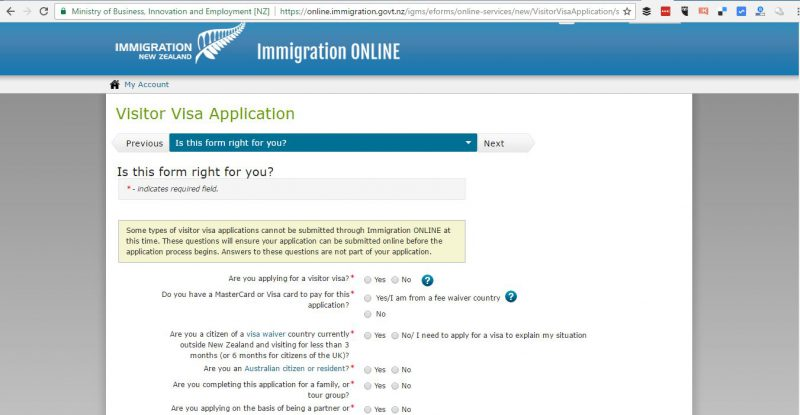 Form yang harus diisi ketika apply visa Turis New Zealand secara Online. Ada banyak banget, jadi persiapkan persyaratan yang diperlukan ya.