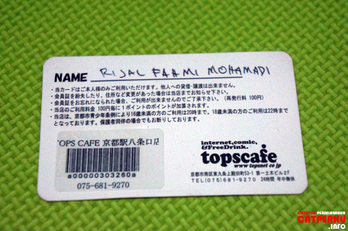Kartu anggota topscafe yang ada di Kyoto, Japan (bagian depan).