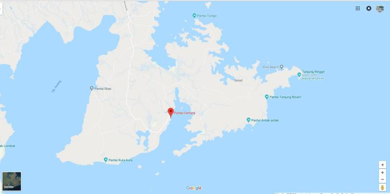 Lokasi Pantai Cemara Lombok Timur di google maps.