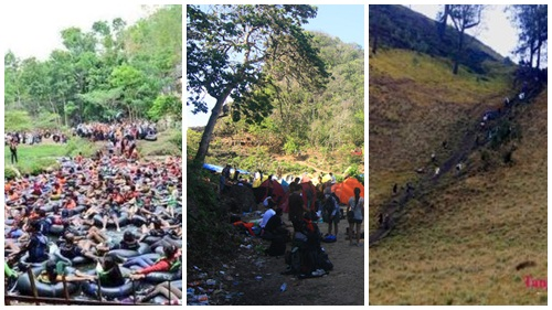 """Goa Pindul kelebihan muatan (kiri), Pulau Sempu dan sampah (tengah), Tanjakan """"putus"""" Cinta, TNBTS (kanan)."""