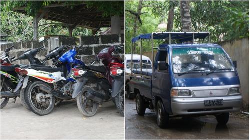 Beberapa moda transportasi yang umum digunakan di pulau ini.