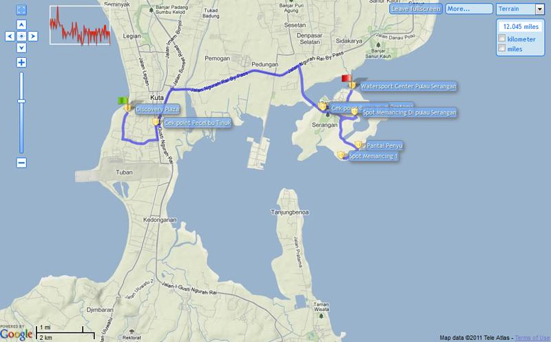 Peta Menuju Pulau Serangan, Starting Point Discovery Plaza, Kuta, Bali