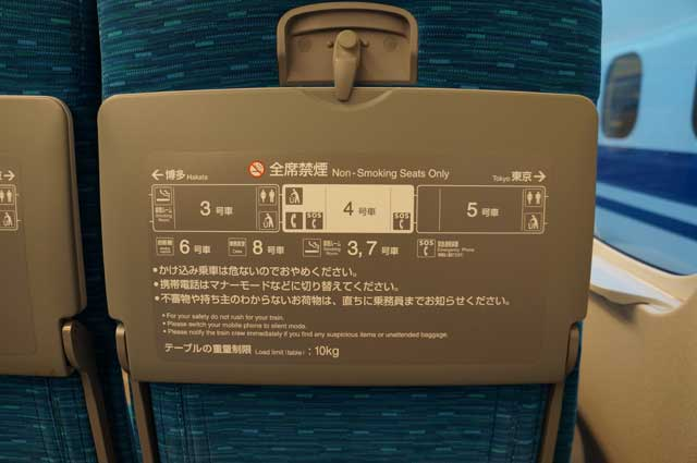 Peraturan dan sedikit informasi tentang kereta Shinkansen yang saya tumpangi.