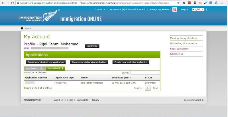 User interface halaman untuk daftar Visa New Zealand secara Online.