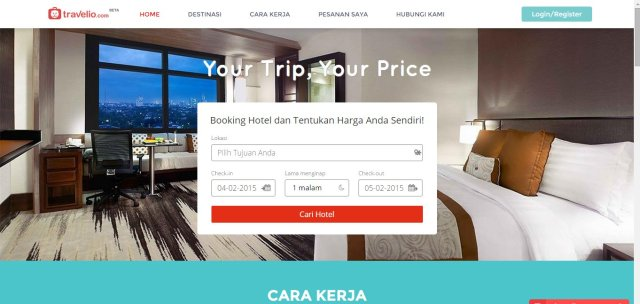 Buka websitenya travelio!