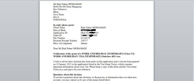 Di dalam email ada document yang berisi notification of Visa Grant.