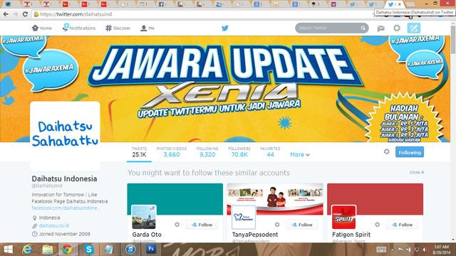 Bukti follow @daihatsuind
