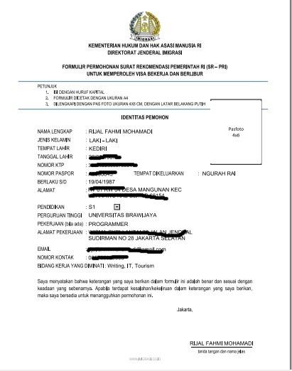 Form yang harus di isi untuk mendaftar wawancara di Direktorat Jendral Imigrasi Pusat.