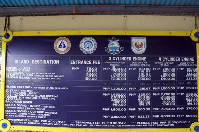 Untuk menyeberang ke Pandan Island dari pulau utama Palawan, harganya segini.