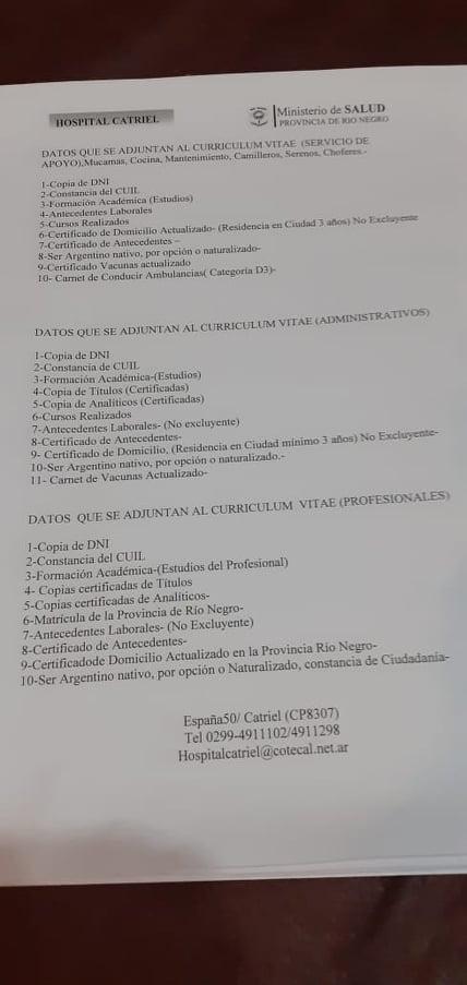 hospital requisitos - Catriel25Noticias.com