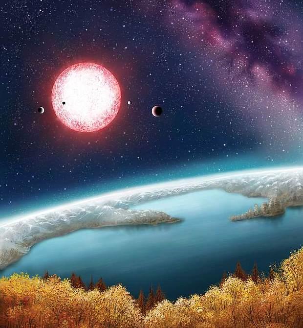 Interpretación artística de la superficie de Kepler-186f. Las plantas tienen una tonalidad amarillenta debido a la luz emitida por la estrella anfitriona de este mundo. El agua y las nubes probablemente sean más naranjas.