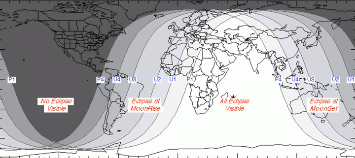 Lugares donde será visible el eclipse lunar.