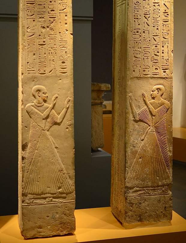 Además de alcalde de Memfis, Ptahmes fue un oficial de alto rango bajo el mando de Seti I y su sucesor Ramsés II. FOTO: Dos de los cuatro pilares hallados en la tumba de Ptahmes, actualmente en el Museo Nacional de Ámsterdam, Holanda.