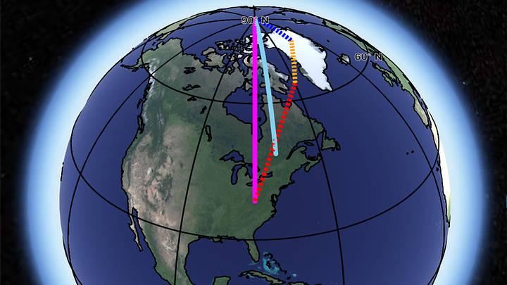 La dirección observada del movimiento polar (línea azul), comparada con la suma de la influencia del deshielo en Groenlandia (azul), el rebote postglacial (amarillo), y la convección profunda del manto (rojo). Crédito: NASA/ JPL-Caltech.