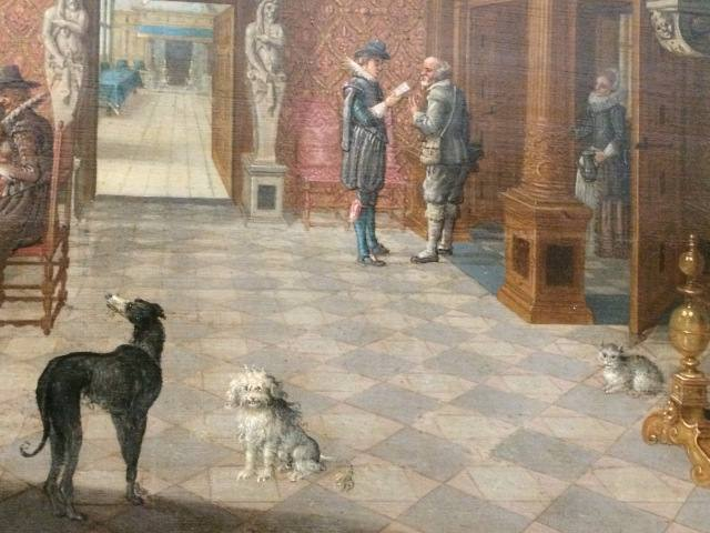 Detalle de la obra 'Interior del salón, con músicos en la mesa', de Nicolaes de Gyselaer, c. 1621, en el Museo Fitzwilliam.