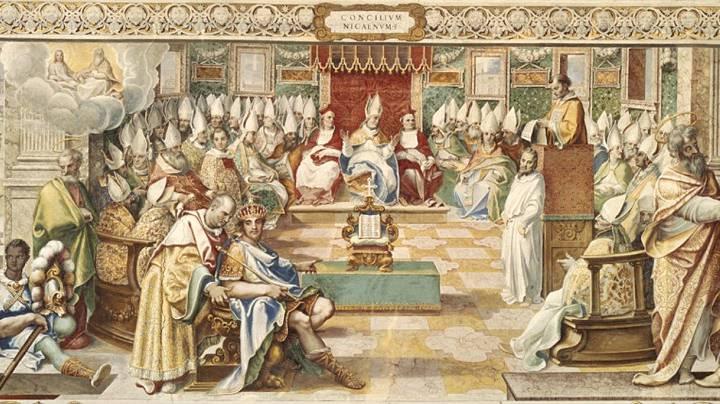 El Primer Concilio de Nicea fue presidido por el obispo Osio de Córdoba, de quien se cree que era uno de los legados del Papa.
