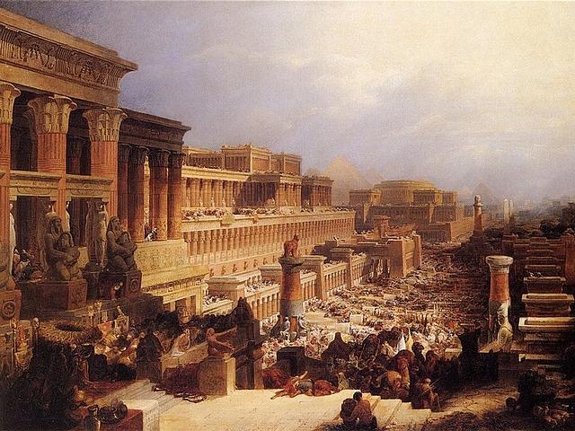 El Éxodo es el mito fundacional de los israelitas. Imagen: 'Los israelitas yéndose de Egipto', óleo de David Roberts, 1828. Museo de Arte, Birmingham.
