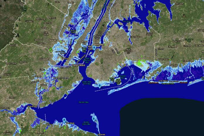 Parte de Nueva York y Nueva Jersey en un escenario donde el nivel de los océanos aumentó más de dos metros.