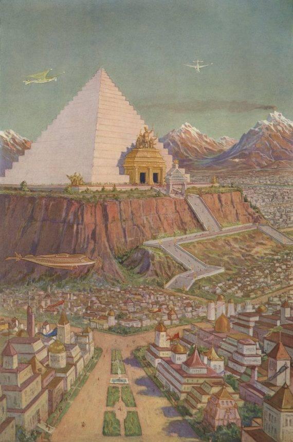 Representación idealizada de un templo atlante, por J. Augustus Knapp. Aparece como ilustración en el libro 'The Secret Teachings of All Ages', escrito por el masón Manly P. Hall (1928).