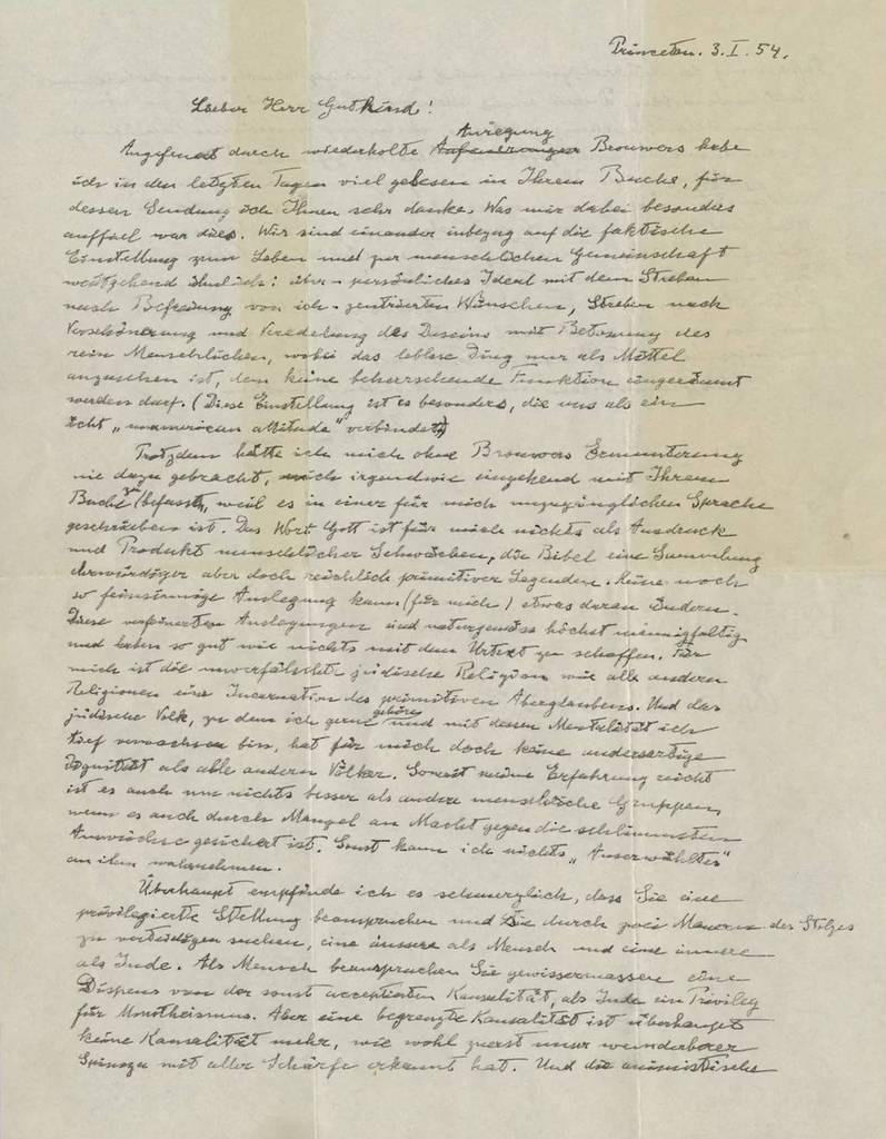 En 1954, Einstein escribió una misiva al filósofo judío Eric Gutkin, en respuesta a su libro 'Escoger la vida: la llamada bíblica a la rebelión'.