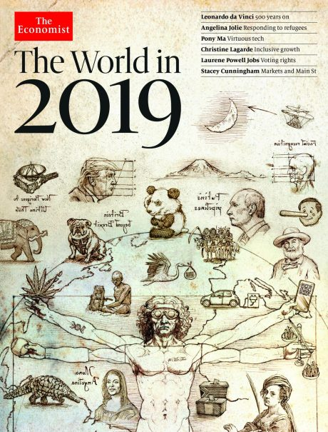 """The Meaning of the Cryptic Messages on The Economist's """"The World in 2019"""" Cover"""