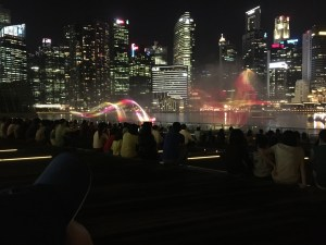 The water and light show at the Marina Bay Sands