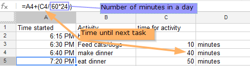 how to add minutes to a Google Doc spreadsheet