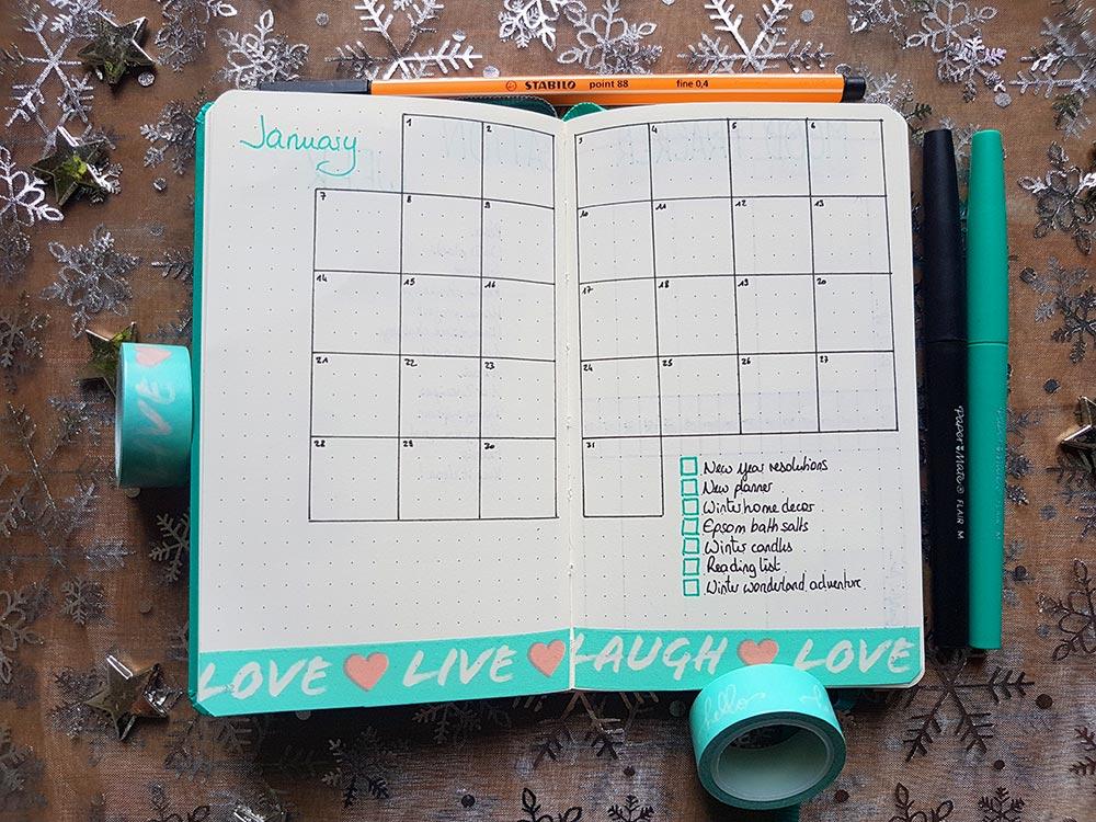 Bullet Journal – Mon système pour le mois de Janvier