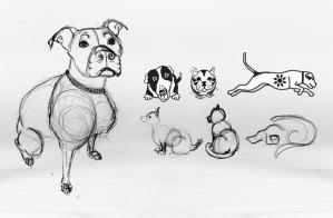 Freehand animal drawings