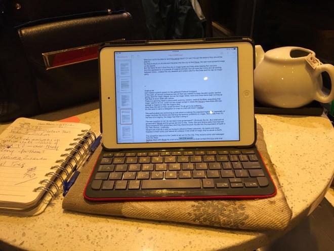 Writing at coffee shop Novel progress