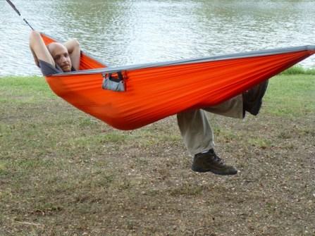 Mike in a hammock.