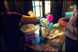 Cotton candy station.
