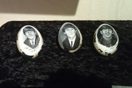 Three out of four Beatles pained on eggshells.
