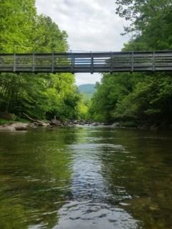 Tye River suspension bridge.