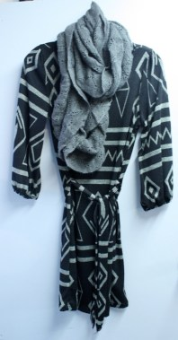 Jersey print dress and infinity scarf