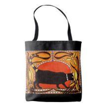 Art Nouveau Black Cat Tote Bag