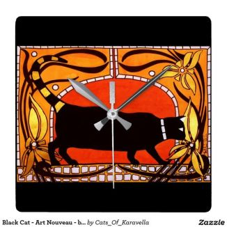 Art Nouveau Black Cat Wallclock