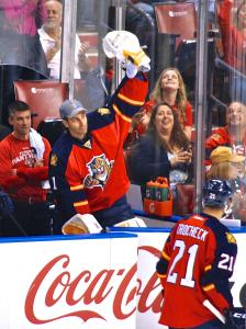 Luongo acknowledging the fans after being named the team's MVP of the year