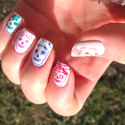 Sugar skull nails created with the stamping method...