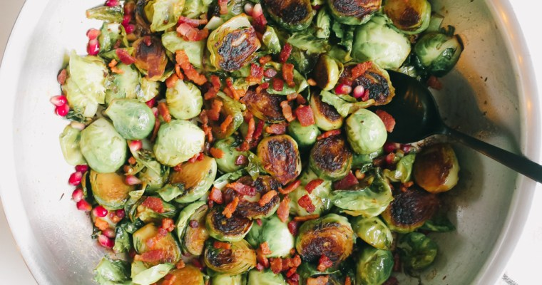 Pan Roasted Brussels Sprouts with Bacon and Pomegranate (Whole 30, Paleo)