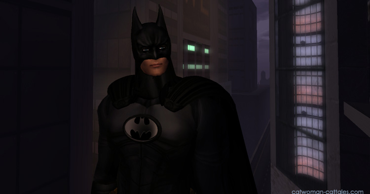 Batman in front of Wayne Enterprise