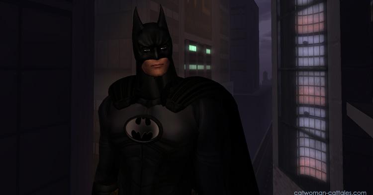 Batman in front of Wayne Enterprise